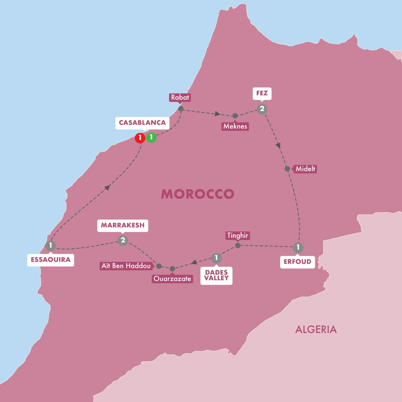 Map showing route taken, modes of transport and stays during your holiday