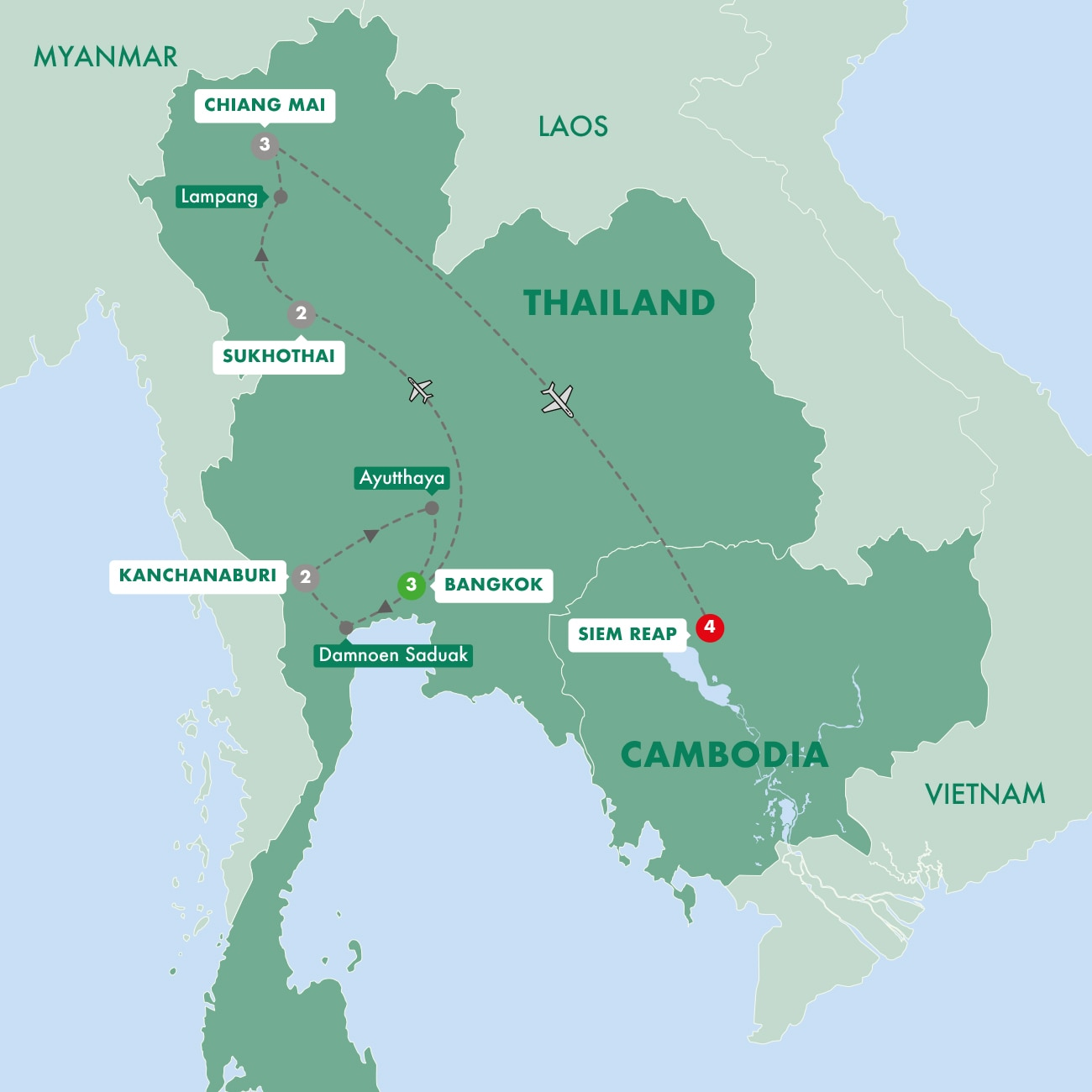 Thailand and the Temples of Angkor Map