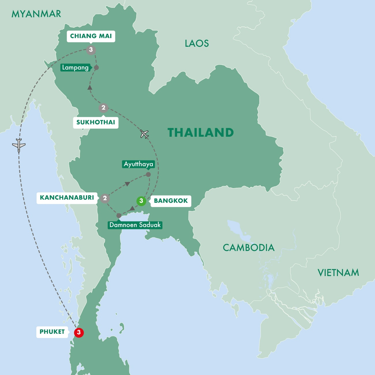 Treasures of Thailand with Phuket Map