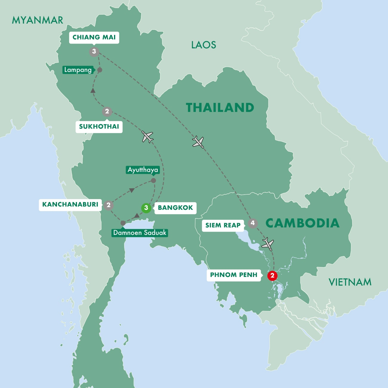 Thailand and Cambodia Uncovered Map