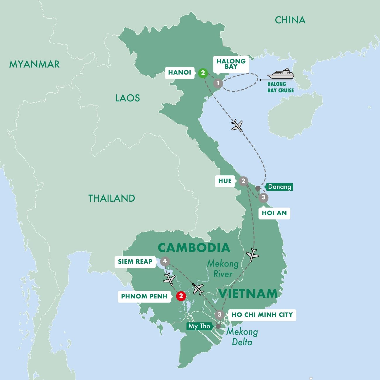 Vietnam and Cambodia Uncovered Map