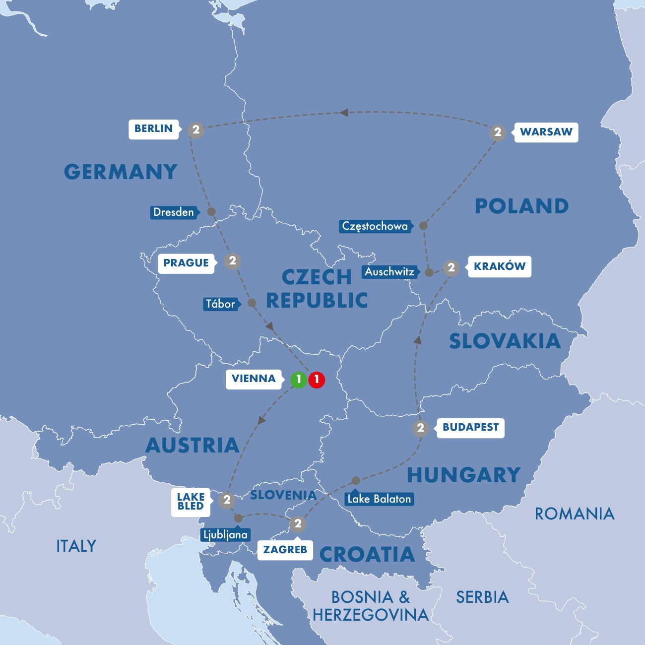 Highlights of Eastern Europe Map