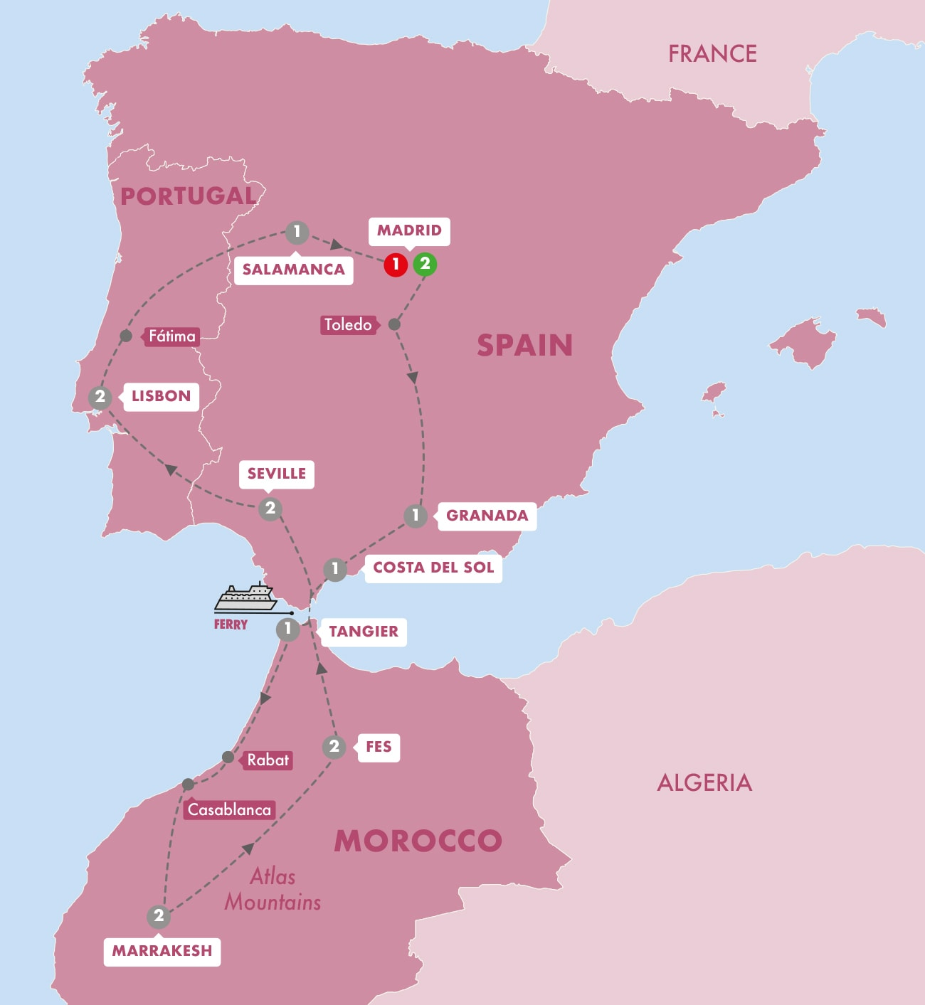 Spain, Morocco and Portugal Map