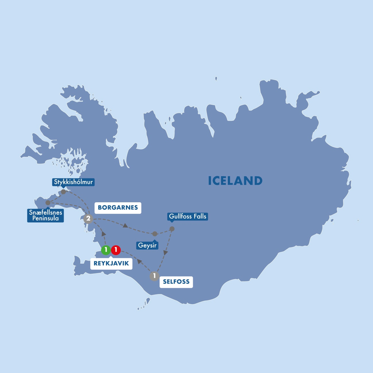Iceland including the Blue Lagoon Map
