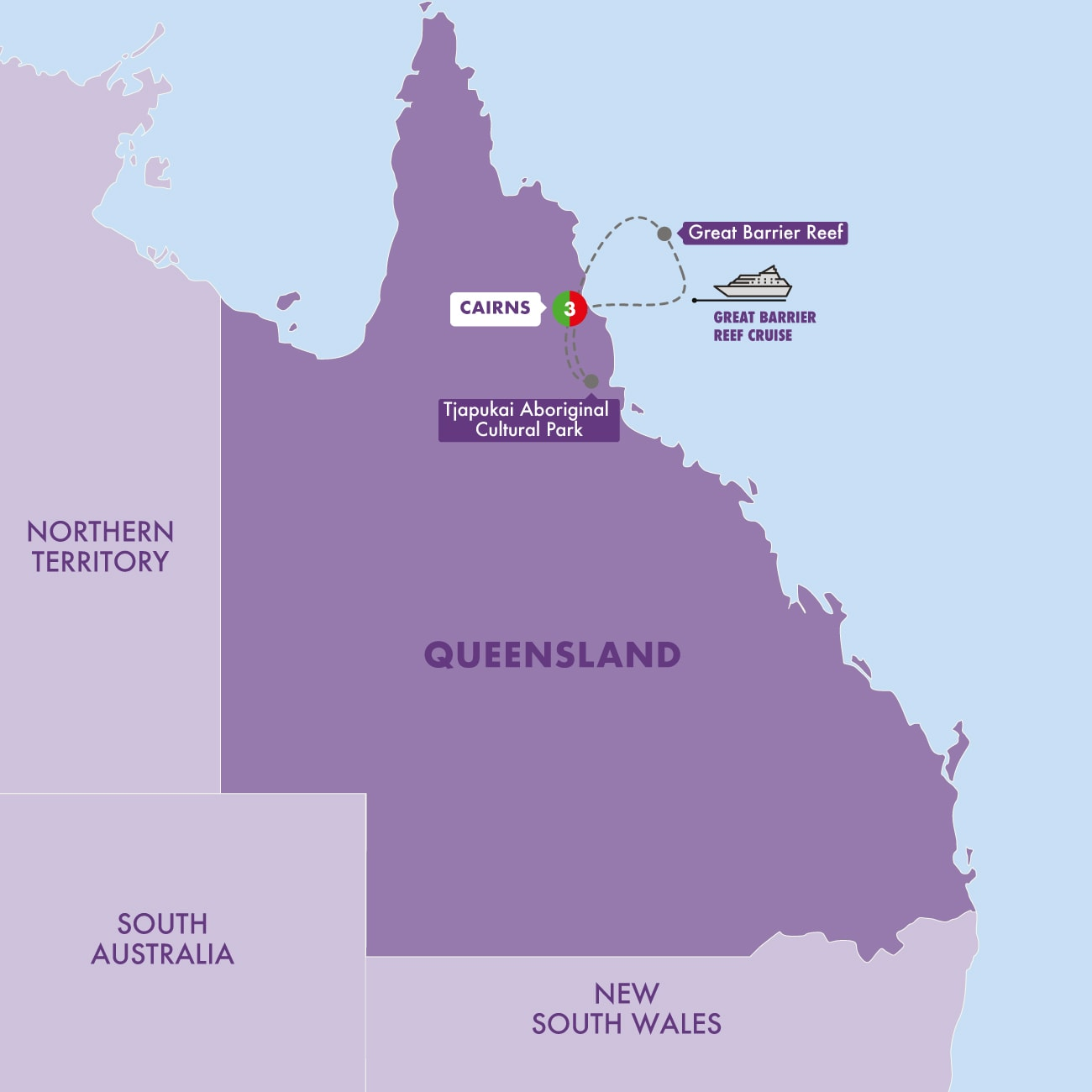 Cairns and the Great Barrier Reef Map