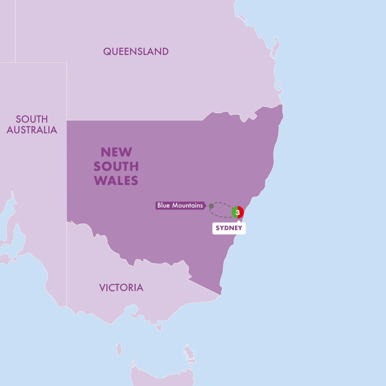 Sydney and the Blue Mountains Map