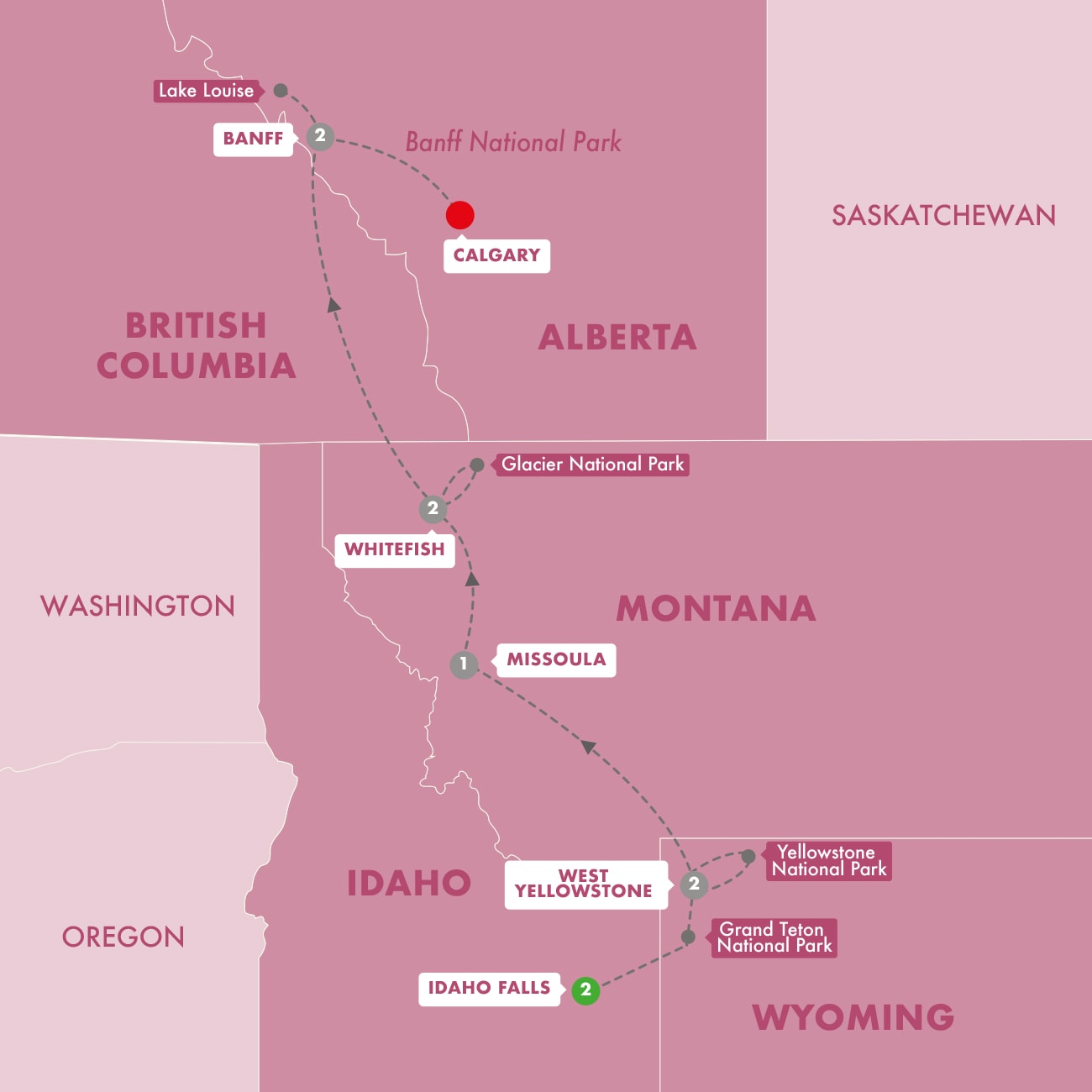Iconic National Parks of the American and Canadian Rockies Start Idaho Falls Map