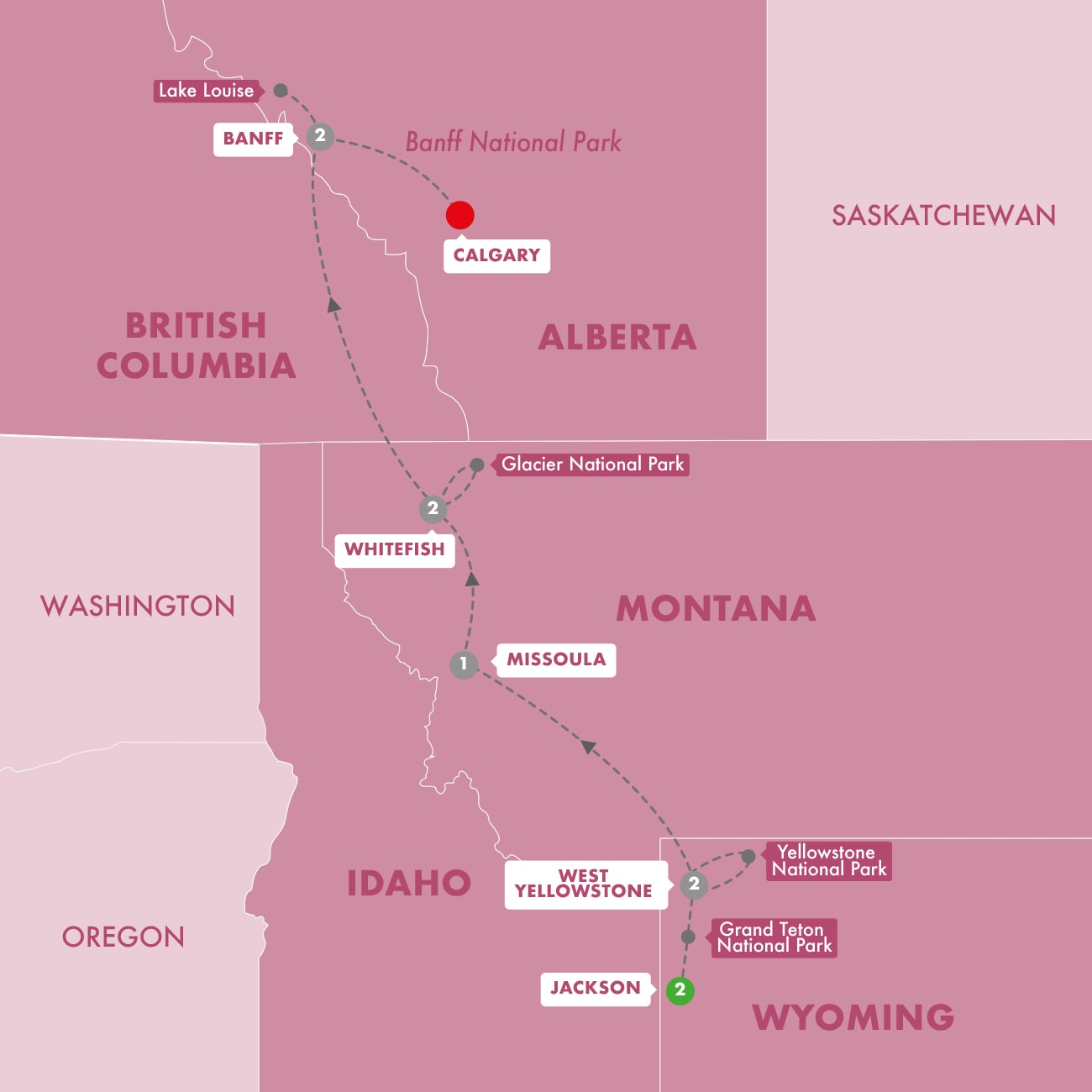 Iconic National Parks of the American and Canadian Rockies Start Jackson Map