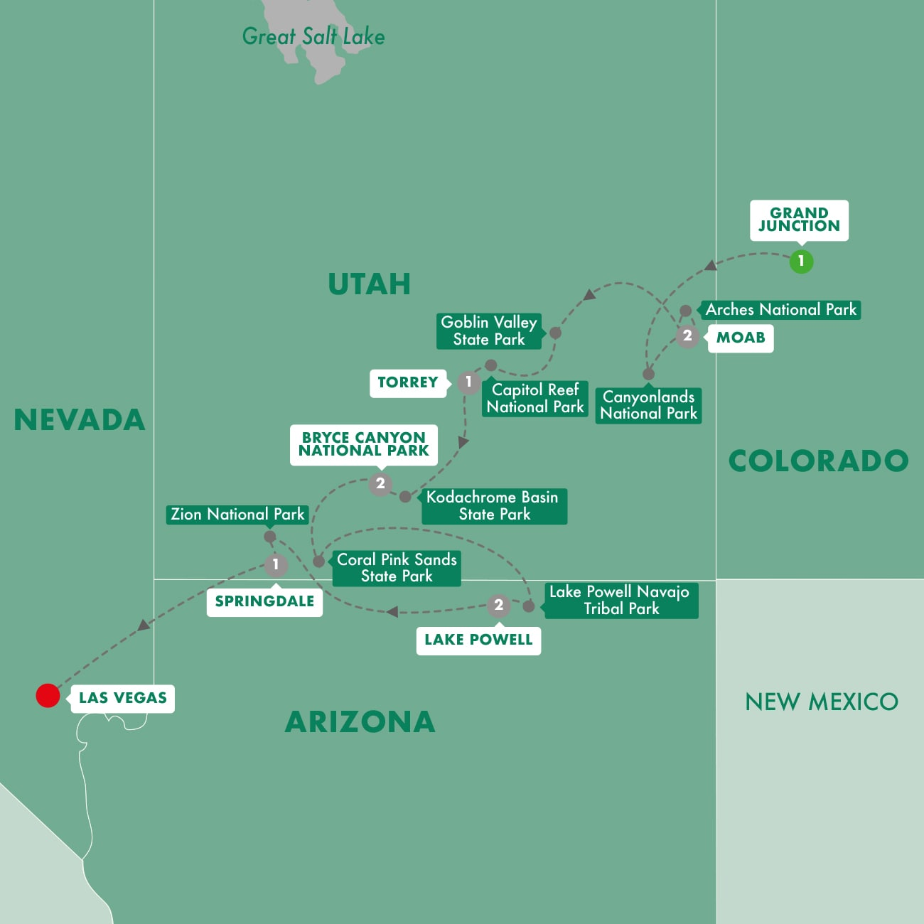 Utah's Mighty Five National Parks Map