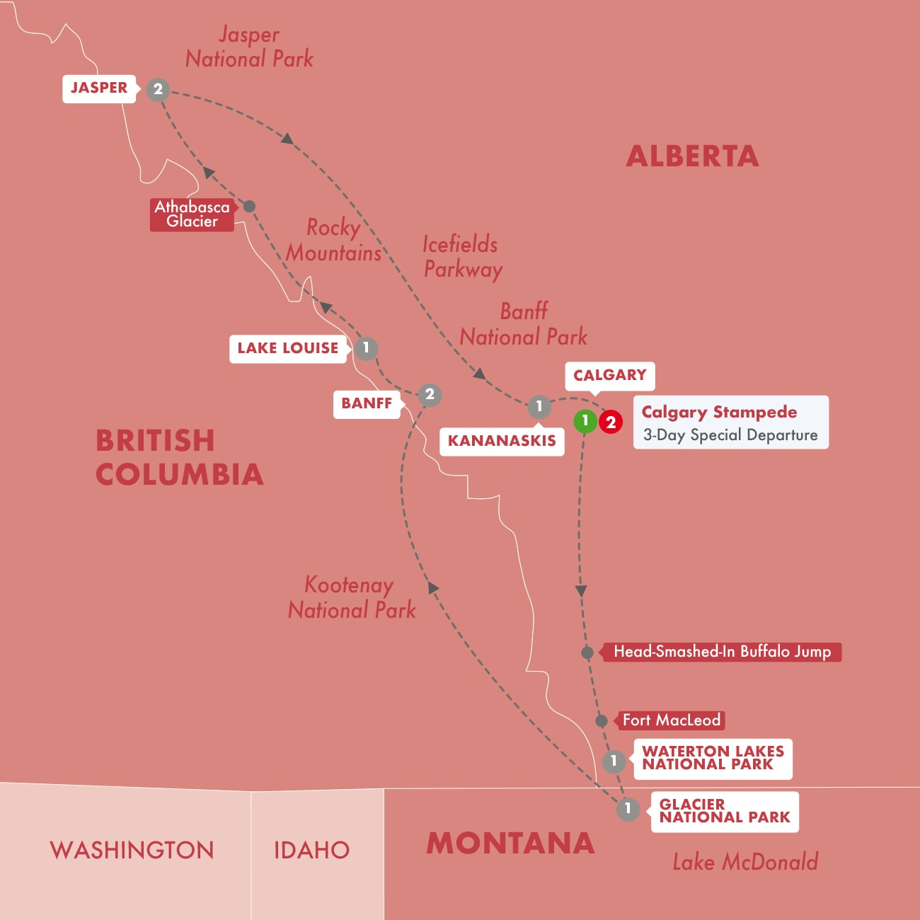 Secrets of the Rockies and Glacier National Park with Calgary Stampede Map