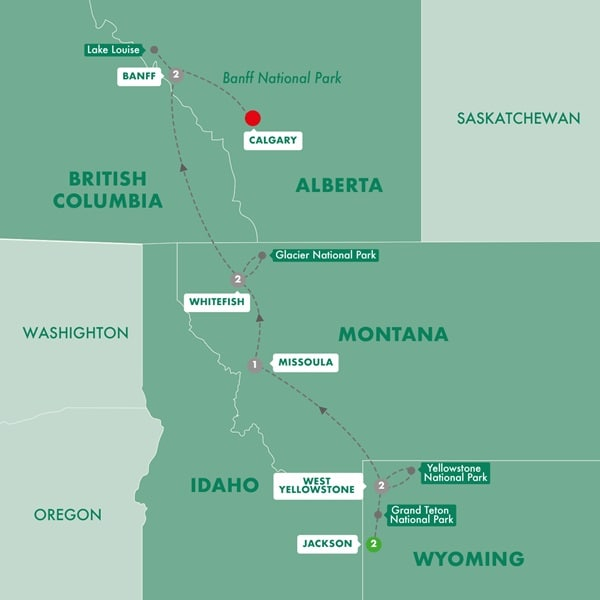 Iconic National Parks of the American and Canadian Rockies
