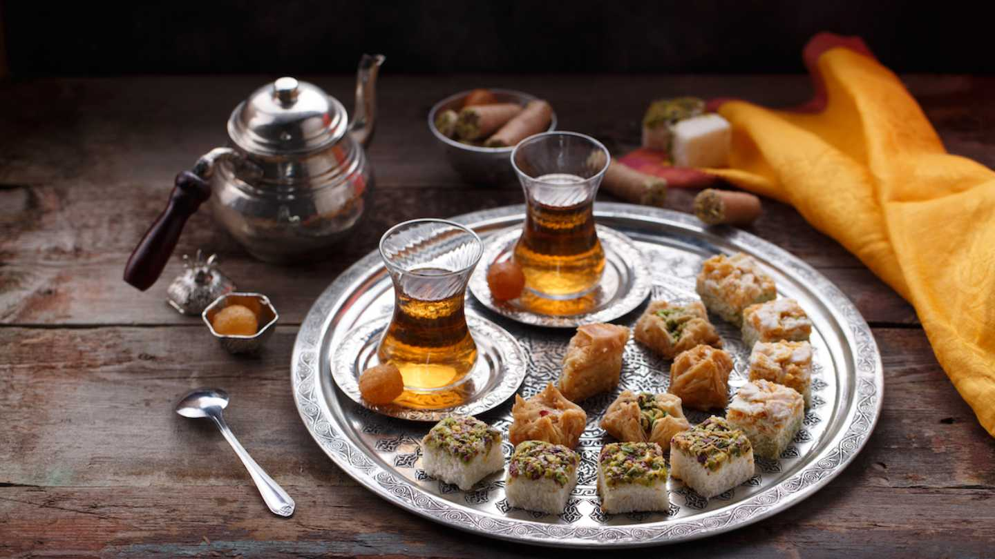 baklava and tea turkish food