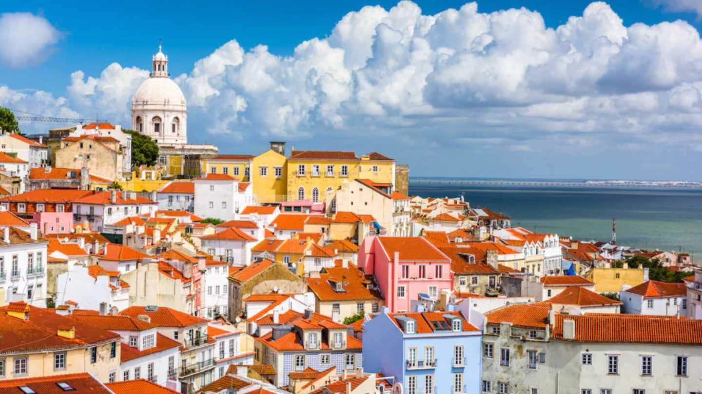 colourful buildings in Lisbon, Portugal
