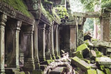 Ruins in Cambodia, some covered with greenery.