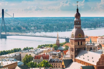 Sunny skyline of Riga in a sunny day - aerial view