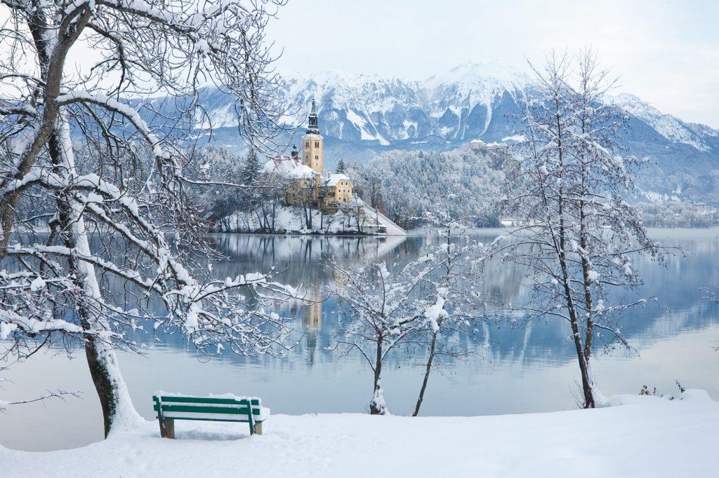 A snowy scene in Ljubljana, Slovenia