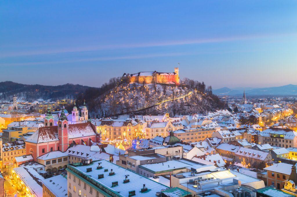 Slovenia's twinkling lights at dusk