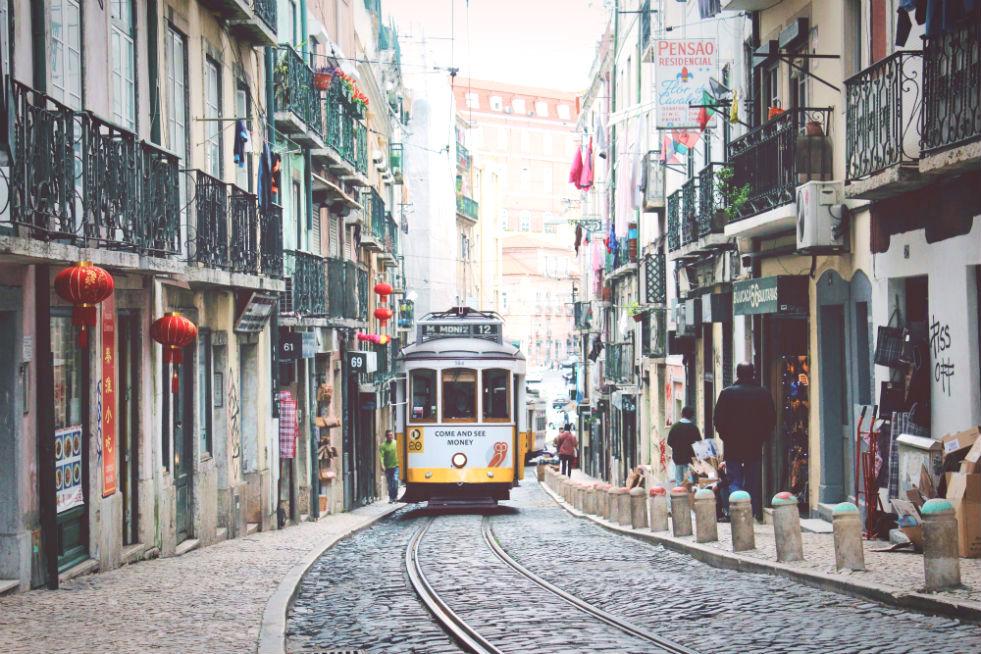 A tram in Lisbon