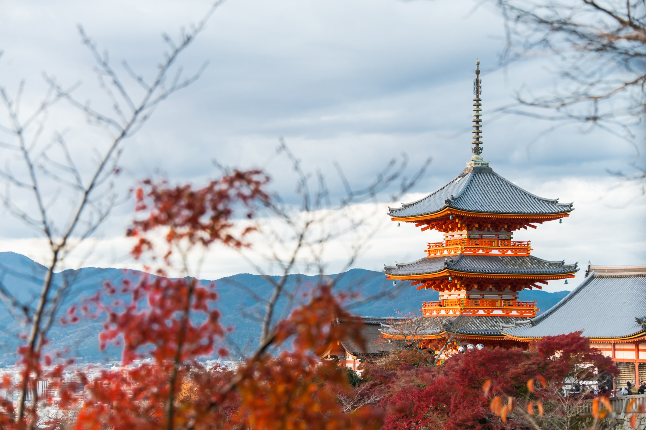 beautiful Japanese landscapes Kiyomizu-dera Pagoda in Kyoto