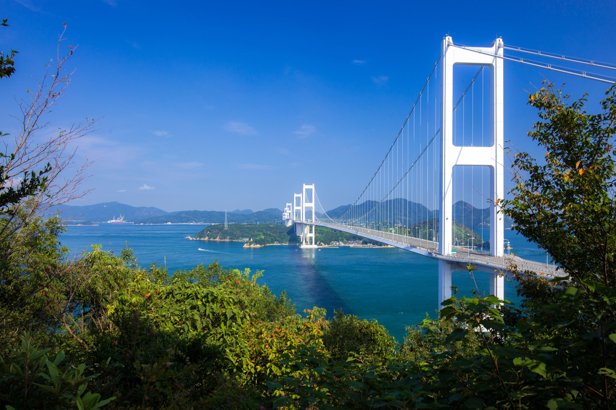 Beautiful Japanese landscapes Kurushima Bridges in Seto Inland Sea, Japan