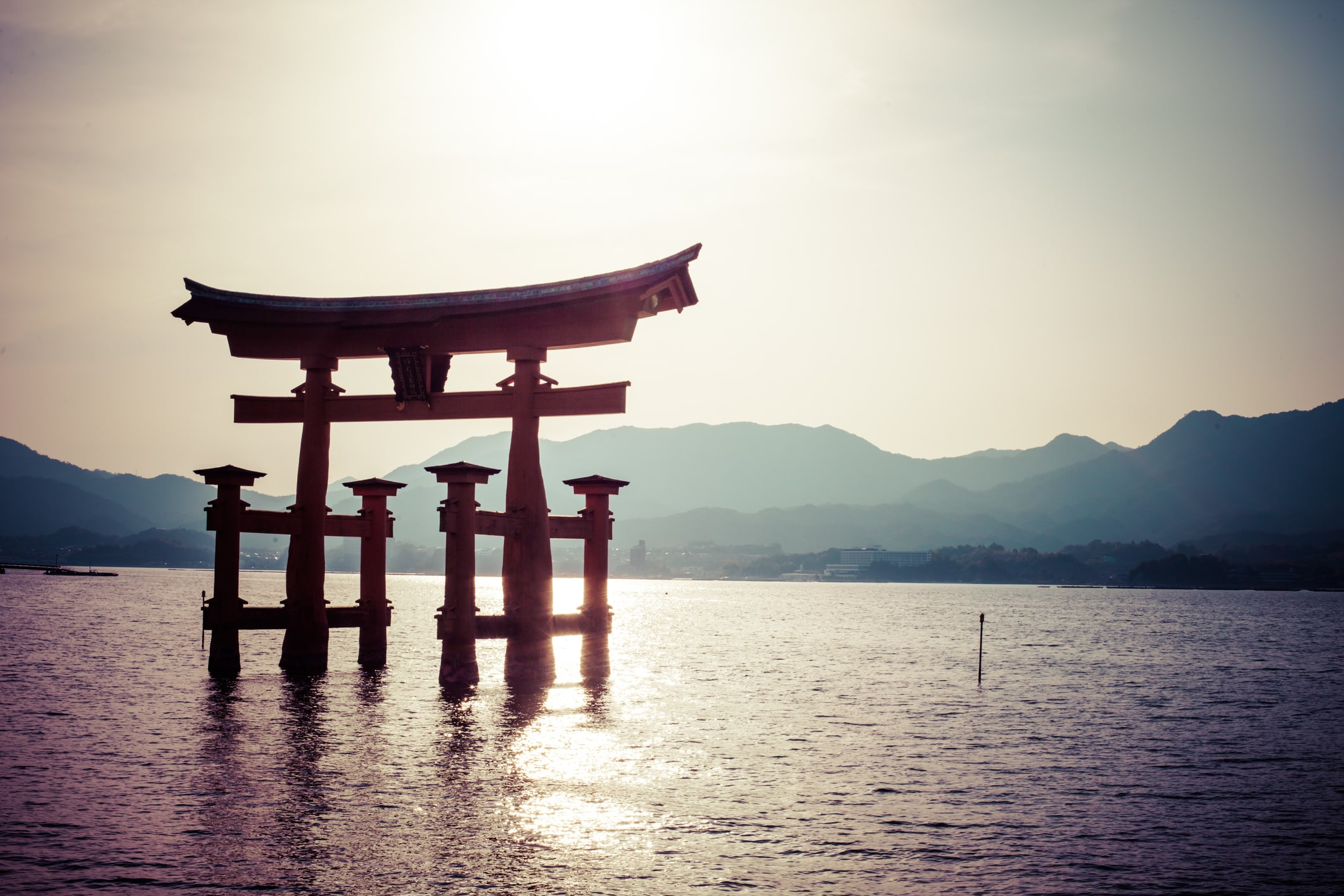 Beautiful Japanese landscapes Miyajima, Famous big Shinto torii in Hiroshima, Japan