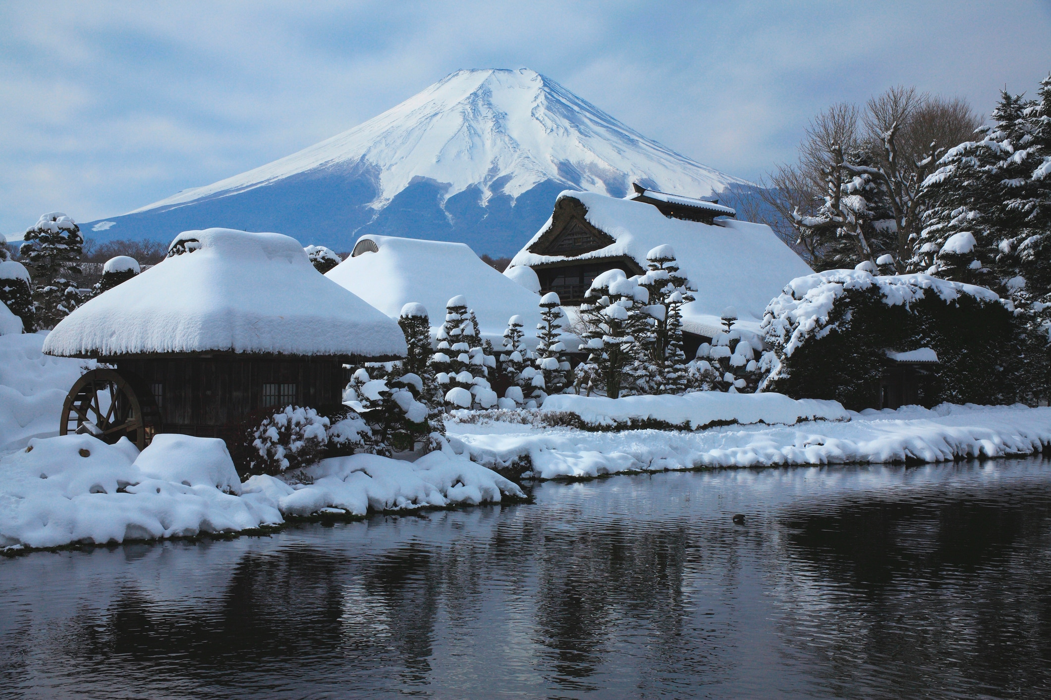 Beautiful Japanese landscapes Oshino Hakkai and Mt. Fuji