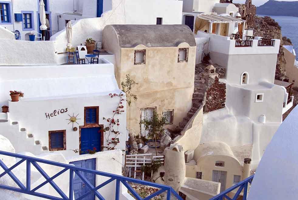 greek houses blue doors