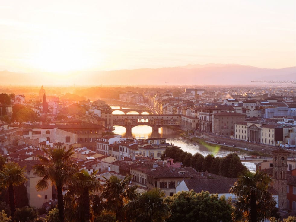 A view of the river in Florence, Italy