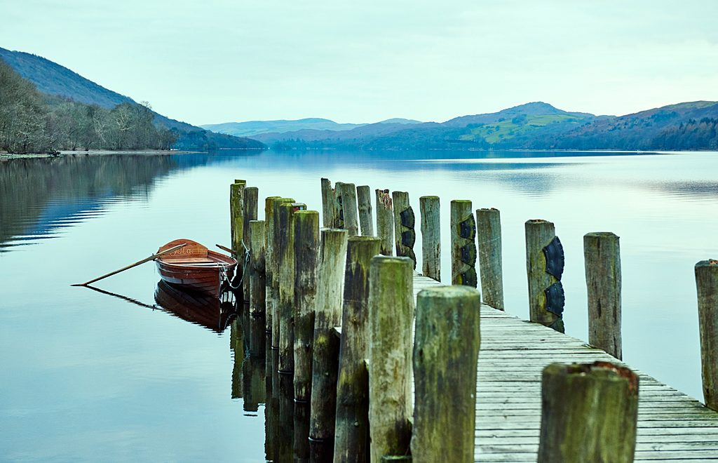 Coniston Water, a lake in the Coniston Fells, in the Lake District national park