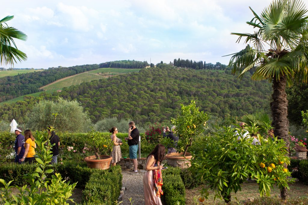 Guests during Trafalgar's Be My Guest Tuscan countryside tour at Villa il Leccio