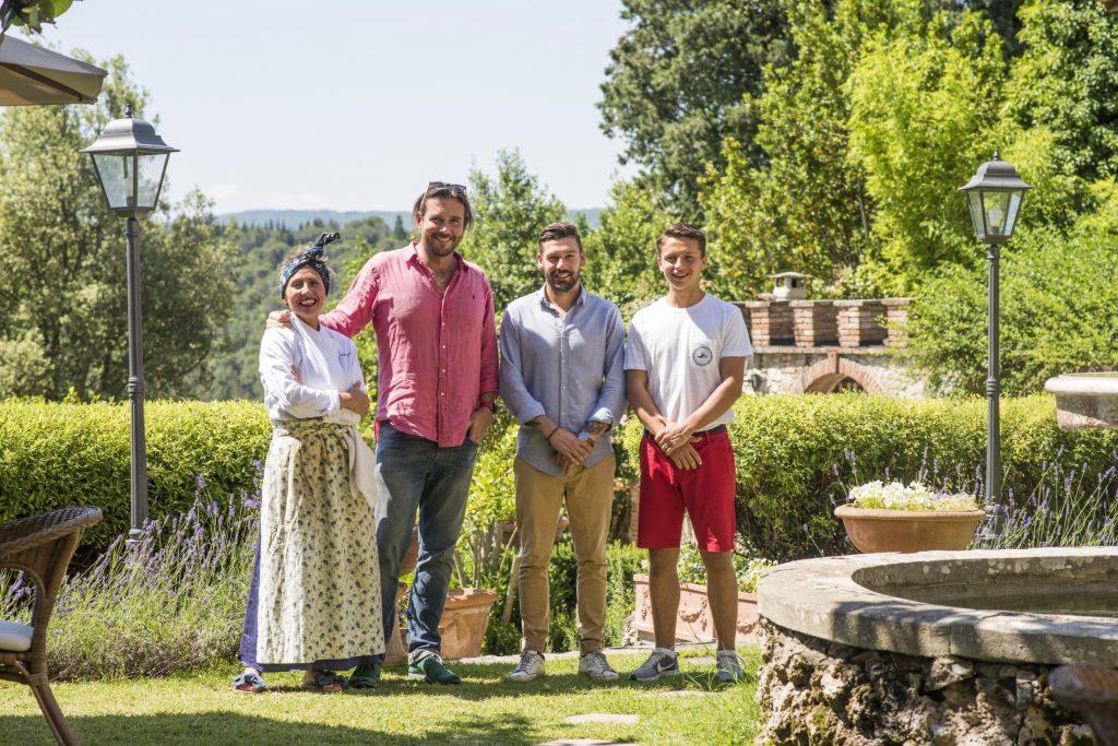 Landi family in front of their Tuscan Villa, Villa il Leccio