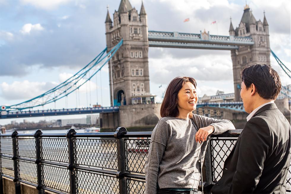 Couple overlooking Tower Bridge London