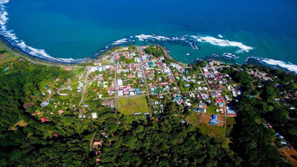 aerial view Puerto Viejo coastline, Costa Rica