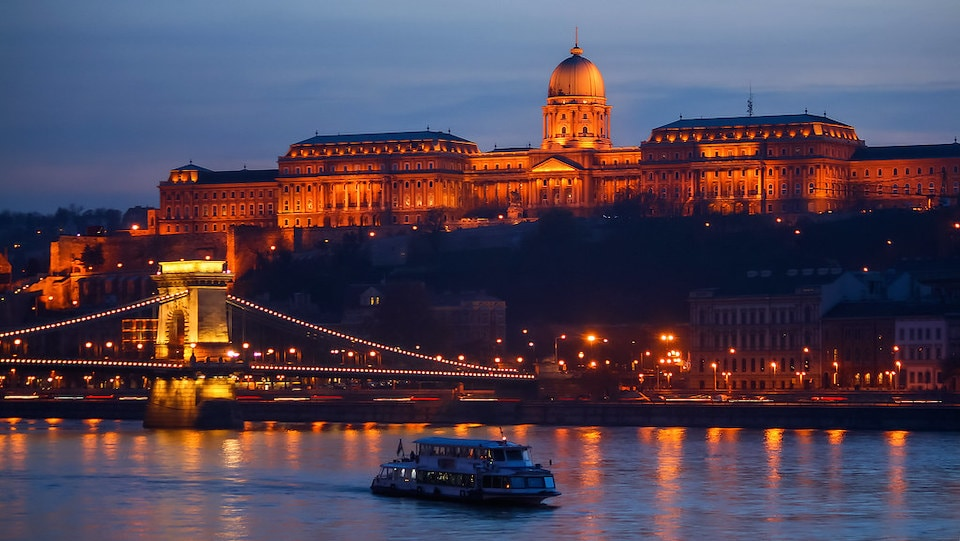 boat on the river at sunset, budapest