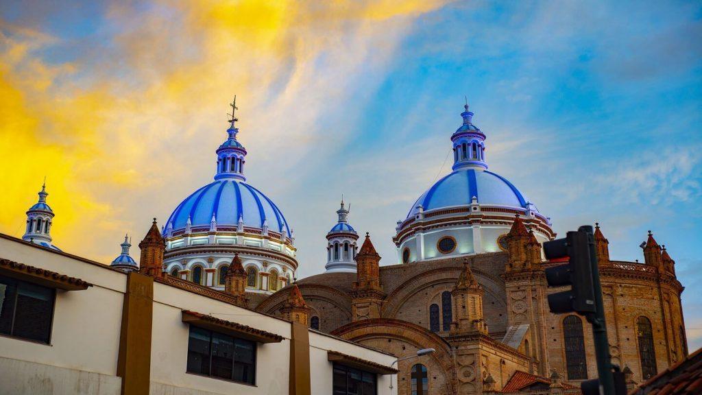 blue cathedral spires Cuenca Ecuador