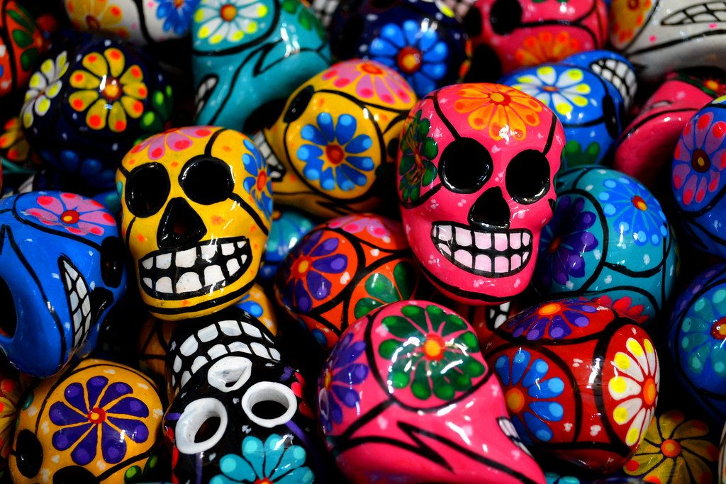 day of the dead colourful skulls