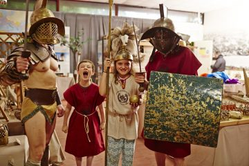 brother and sister with roman soldiers