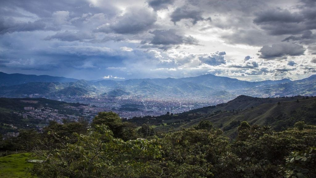 mountains around city Medellin Colombia