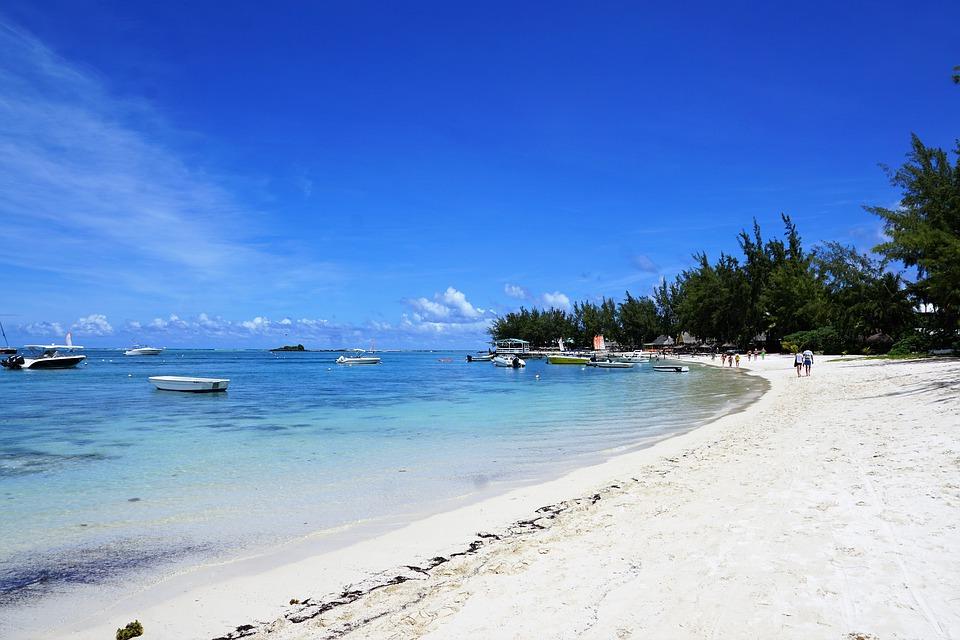 white sand beach, mauritius