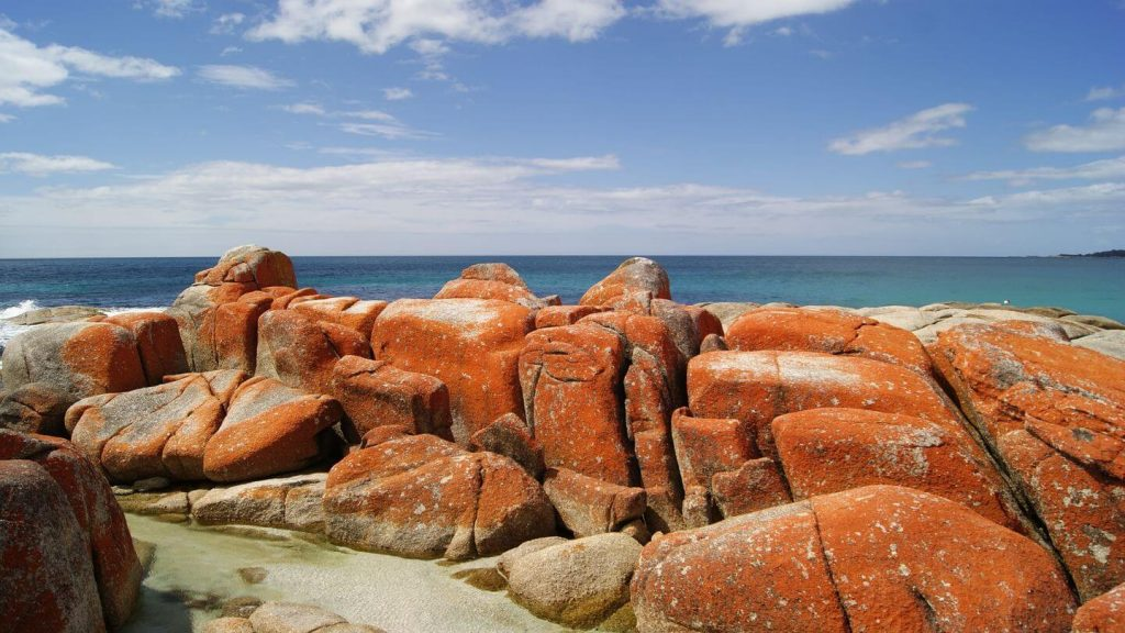 red boulders Bay of Fire Tasmania