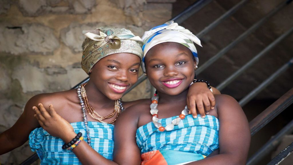 two African women in traditional dress