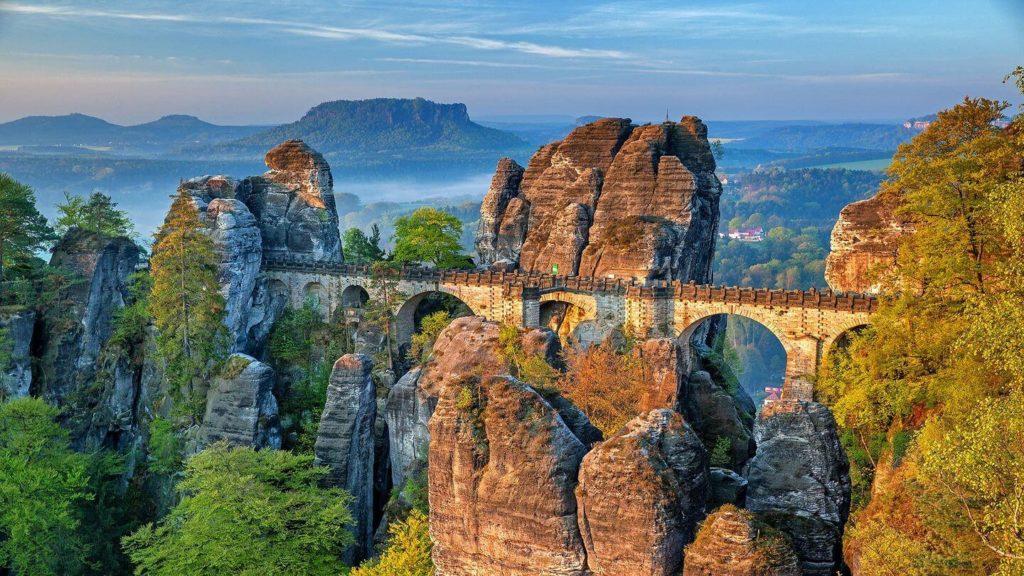 bastei bridge granite mountains switzerland