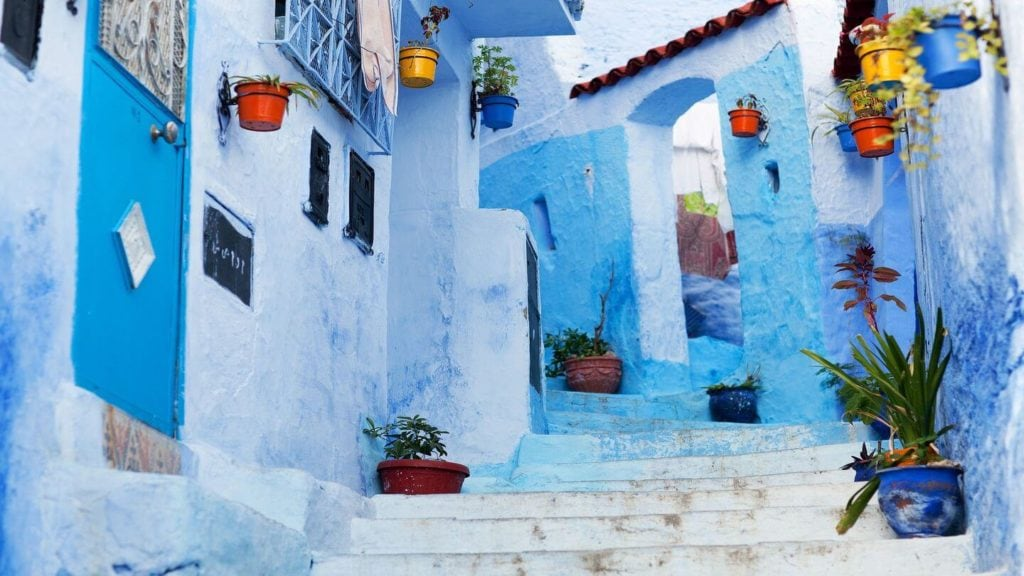 classic blue buildings chefchaouen morocco