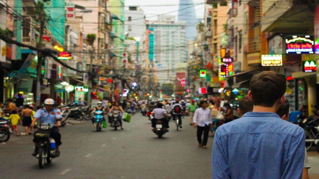 motorbikes on busy china street