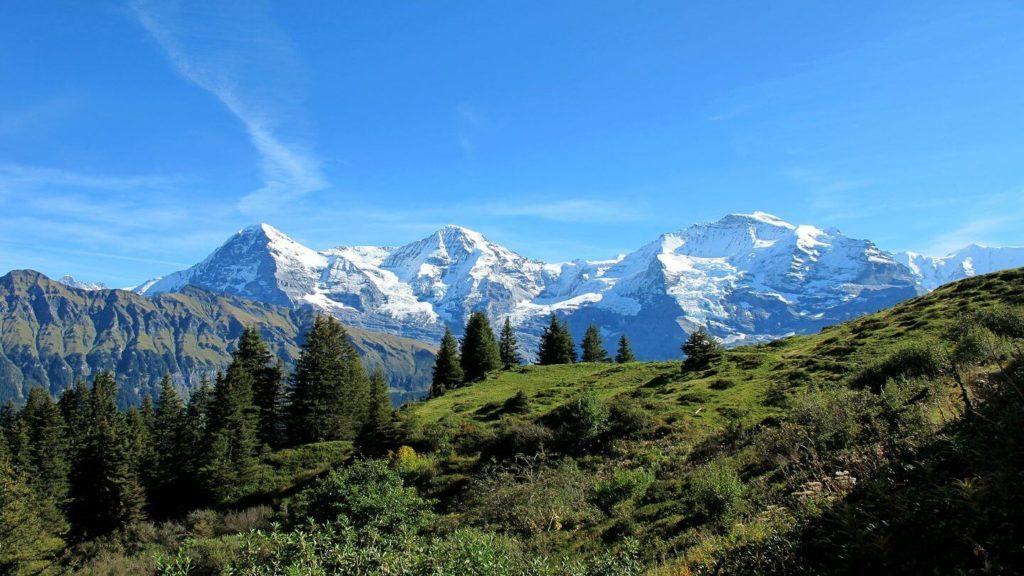 snowy Grindelwald mountains Switzerland