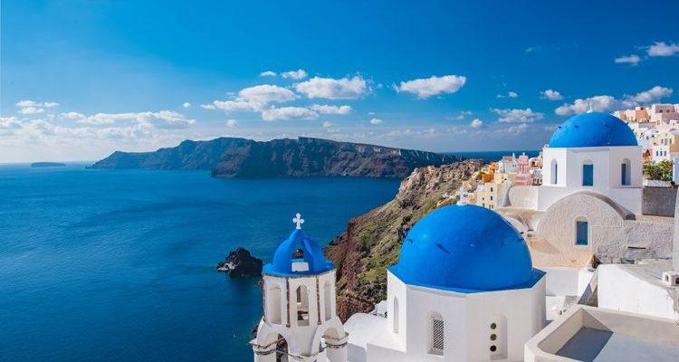 blue domes santorini greece