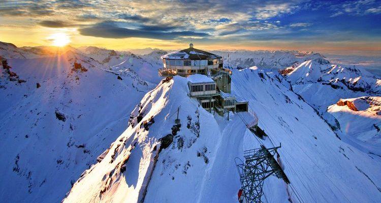 snowy schilthorn mountain switzerland