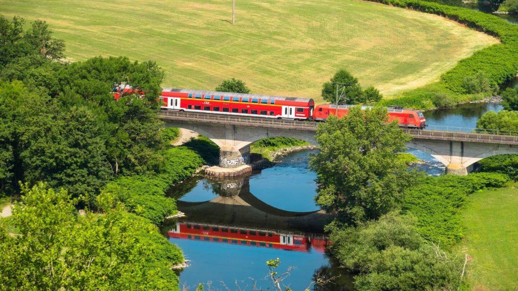 red train switzerland scenery