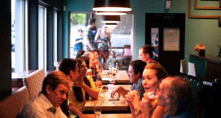 People sitting in a restaurant