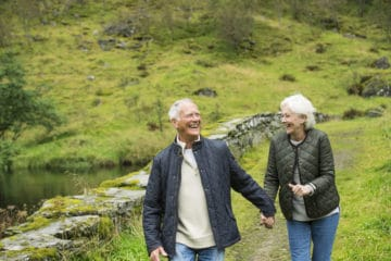 Elderly couple enjoying the outdoors